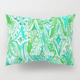 DROPS OF WONDER Green Ikat Tribal Pillow Sham