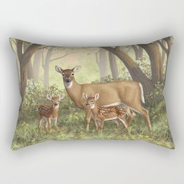 Whitetail Doe and Cute Twin Fawns Rectangular Pillow