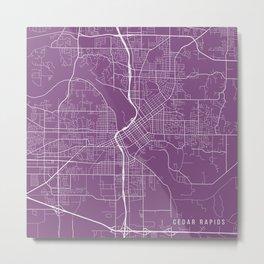 Cedar Rapids Map, USA - Purple Metal Print