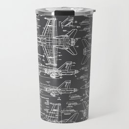 F-18 Blueprints // Charcoal-Grey Travel Mug