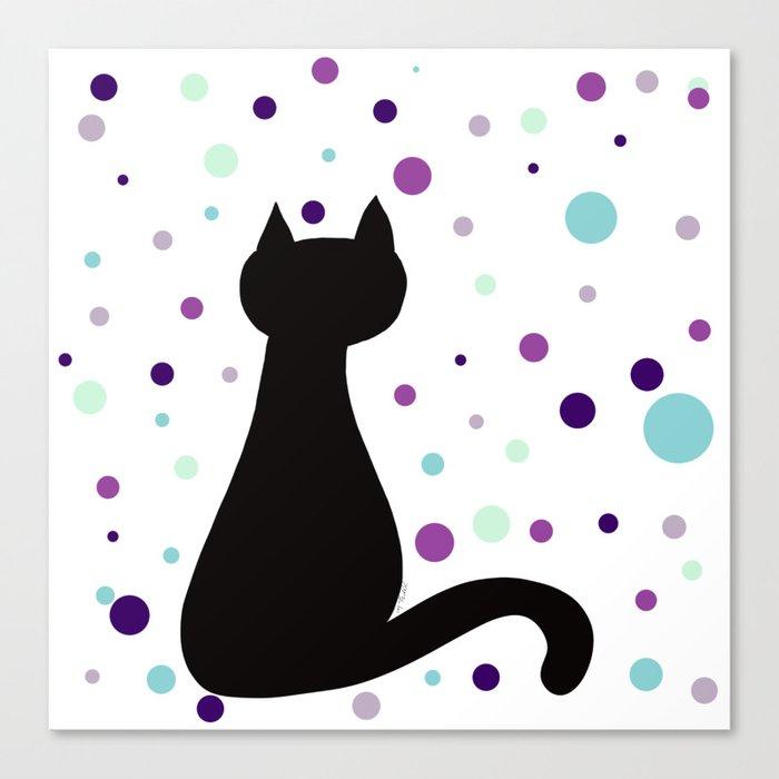 Black Cat Party! Canvas Print
