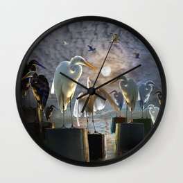 Fantasy Image of Bird Gathering Wall Clock