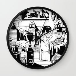 Morning coffee in a lab Wall Clock