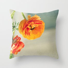 Orange you beautiful Ranculus? Throw Pillow