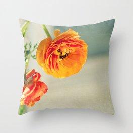 Orange you beautiful Ranculus? Throw Pillow