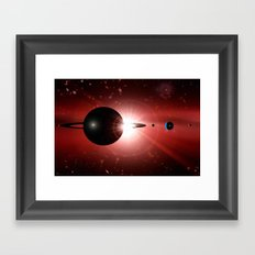Red star and black planet. Framed Art Print