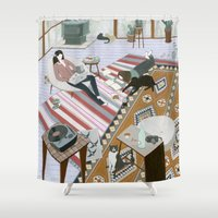 sisters Shower Curtains featuring Sisters Room by Yuliya