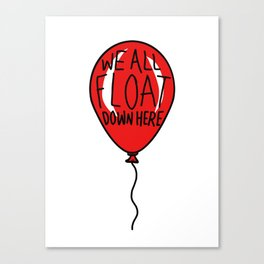 IT We All Float Down Here Red Balloon Canvas Print