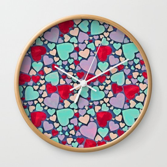Sweet hearts mosaic pattern Wall Clock