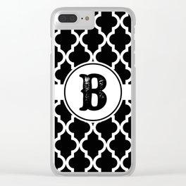 Black Monogram: Letter B Clear iPhone Case