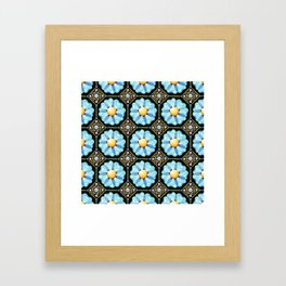 Blue Floral Millefiori Framed Art Print