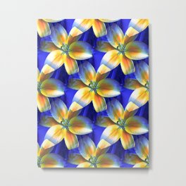 Yellow Lilies On Blue Silk Metal Print