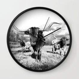 Longhorn Cattle Black and White Highland Cows  Wall Clock