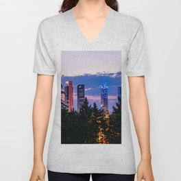 Cityscape of financial district of Madrid at sunset Unisex V-Neck