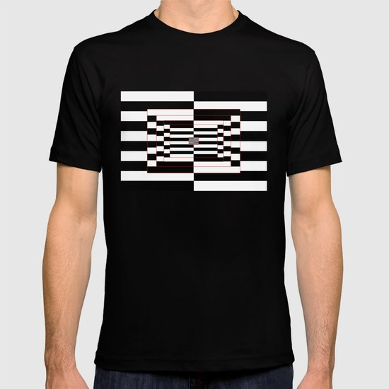 Black, white, red Lines T-shirt