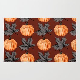 Rusty Pumpkin Autumn Leaf Rug
