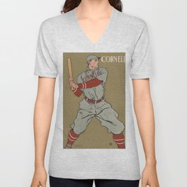 Vintage drawing of a baseball player holding a bat by Edward Penfield (1866-1925) Unisex V-Neck