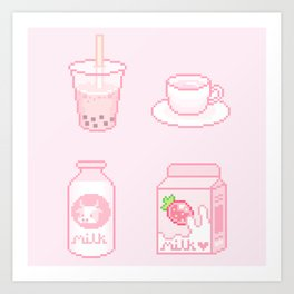 pink drinks Art Print