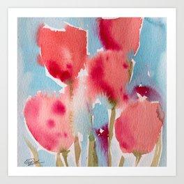 Tulips in watercolor Art Print