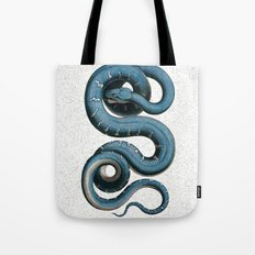 Blue White Vintage Snake Illustration Animal Art Tote Bag
