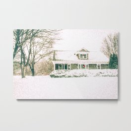 A Snowy New England Home Metal Print