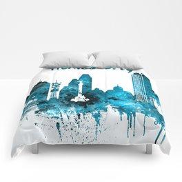 Mexico City Monochrome Blue Skyline Comforters