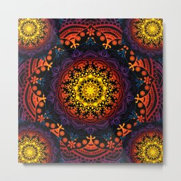 'Bohemian Summer' Multi-Coloured Mandala Metal Print