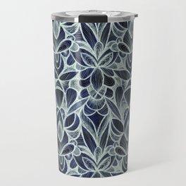 Ballpoint Pattern in Indigo Travel Mug