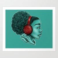 headphones Art Prints featuring Headphones by KiraTheArtist