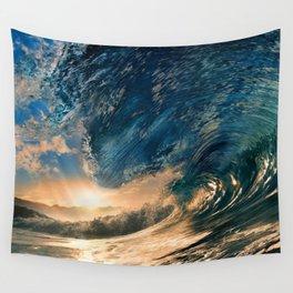 Beach - Waves - Ocean - Sun - Clouds - Blues - Sundown Wall Tapestry