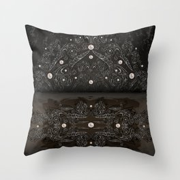 Silver ornament, pearls and grunge texture background Throw Pillow