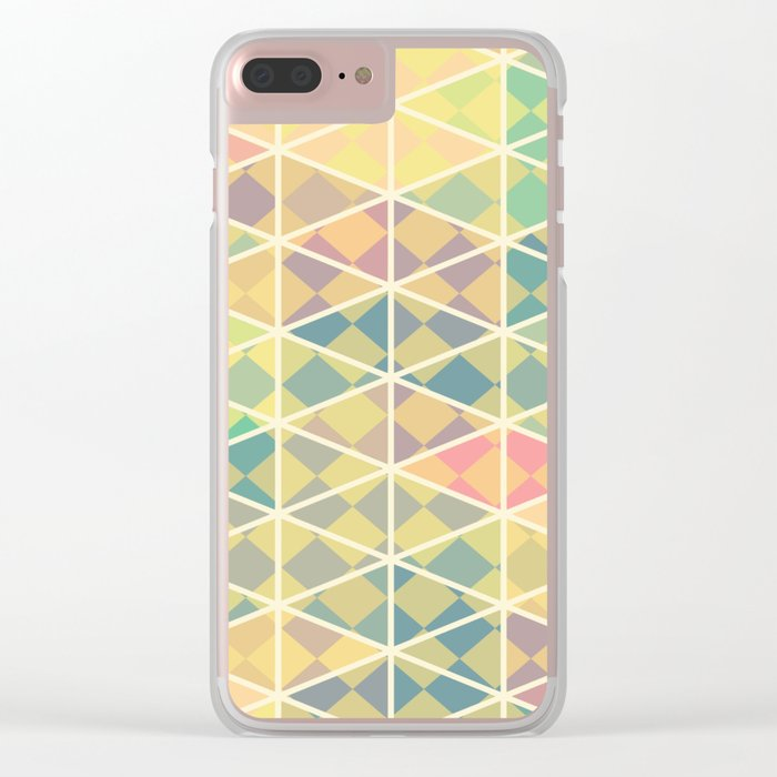 Green mosaic checkered art Clear iPhone Case