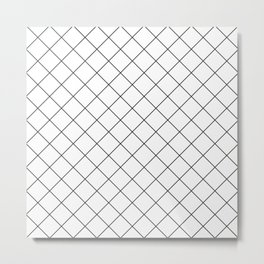 Grid Simple Line White Minimalistic #society6 #decor #buyart #artprint Metal Print