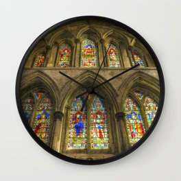Rochester Cathedral Stained Glass Windows Art Wall Clock