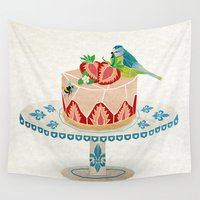 dessert Wall Tapestries featuring life is short, take a dessert  by Manoou