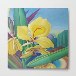 Yellow Ginger Orchid still life painting by Artist Unknown Metal Print