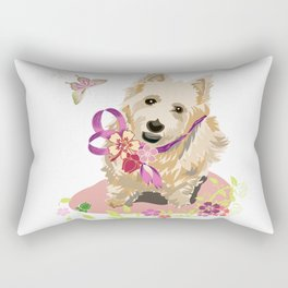 Playful Terrier Dog with Flowers and Butterflies Rectangular Pillow