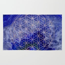 indigo agate with rose gold flower of life Rug