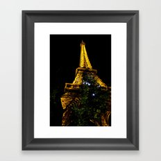 Eiffel Tower lit up at night, Paris Framed Art Print