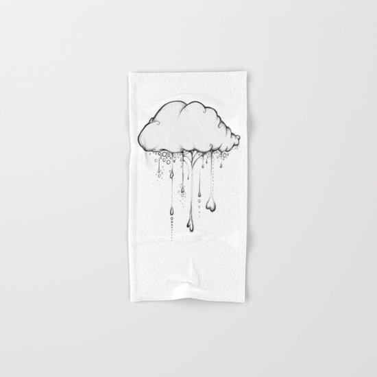 Happy Cloud Drawing, Cute Whimsical Illustration Hand & Bath Towel