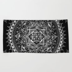 White Flower Mandala on Black Beach Towel