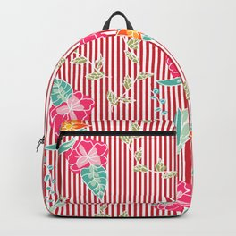 Modern trendy red flame scarlet stripes tropical bright floral pattern Backpack