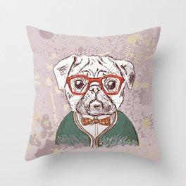 Hipster pug Throw Pillow