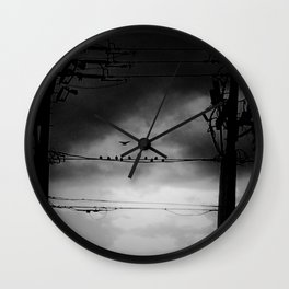 Black and White Birds on a Wire Wall Clock
