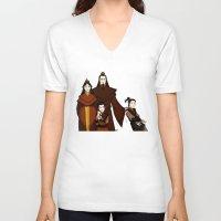 zuko V-neck T-shirts featuring Happy Family by wolfanita