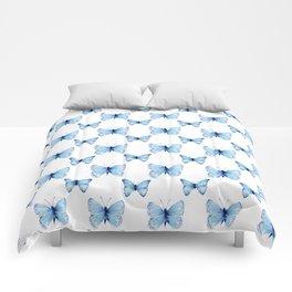 Blue Butterflies Pattern Butterfly Watercolor Comforters