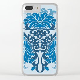 Blue Chinese Floral Medallion Clear iPhone Case