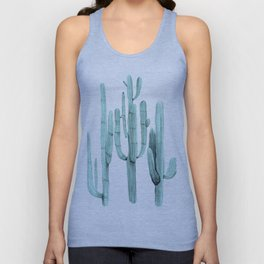 Turquoise Cactus Watercolor Painting Unisex Tank Top