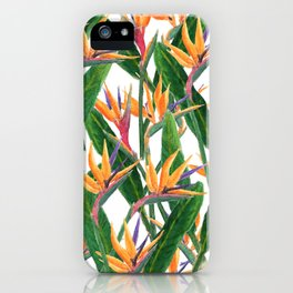 bird of paradise pattern iPhone Case