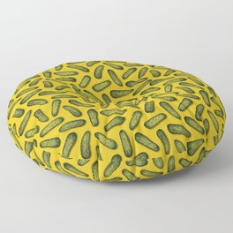 A Plethora Of Pickles - Green & Yellow Gherkin Pattern Floor Pillow